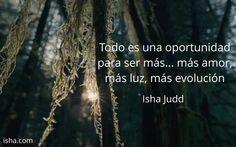 Todo es una oportunidad para ser más... más amor, más luz, más evolución. Isha Judd. Citas.
