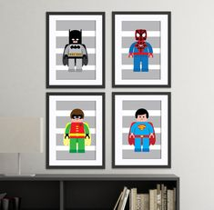 superhero wall art prints super hero set of 4 by AmysSimpleDesigns
