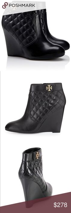 NIB Black Leather Quilted Tory Burch Booties NIB - very CHANEL-esque quilted black leather  -- gorgeous and sold out. Best price and firm on here please. xo Tory Burch Shoes