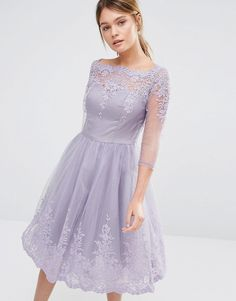 Image 1 of Chi Chi London Premium Lace Midi Prom Dress With Sleeve