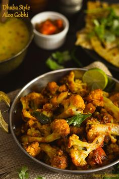 Aloo gobhi dhaba style Potato and cauliflower curry cooked dhaba style! , Aloo gobhi dhaba style Potato and cauliflower curry cooked dhaba style! Vegetarian Curry, Vegetarian Recipes, Cooking Recipes, Healthy Recipes, Burfi Recipe, Indian Food Recipes, Asian Recipes, Salads, Vegans