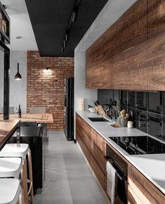 contemporary kitchen tiles for backsplash Wood Interior Design, Interior Design Inspiration, Design Ideas, Design Trends, Kitchen Inspiration, Interior Ideas, Black Kitchens, Home Kitchens, Kitchen Black