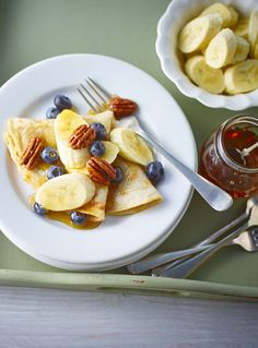 Sweet Banana And Maple Pancakes With Blueberries And Pecans
