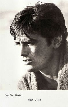 Happy birthday, Alain Delon! French postcard by Editions P.I., no. 1161, offered by Les Carbones Korès 'Carboplane. Photo: Pierre Manciet.
