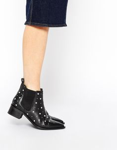 ASOS RIGHT OFF Leather Pointed Ankle Boots