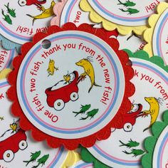 One Fish Two Fish Baby Shower - Thank you Tags -  Personalized - Set of 12 - Dr. Seuss