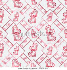 Patchwork seamless abstract pattern with red hearts in retro style, white  background