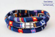 Women's Wrap Bracelet  Nautical Blue Pattern. by SeaRanchJewelry