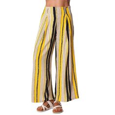 Yellow wide leg pants in stripe with belt