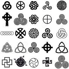 Jeu de symboles celtique icônes vectorielles. Jeu de conception de tatouage.
