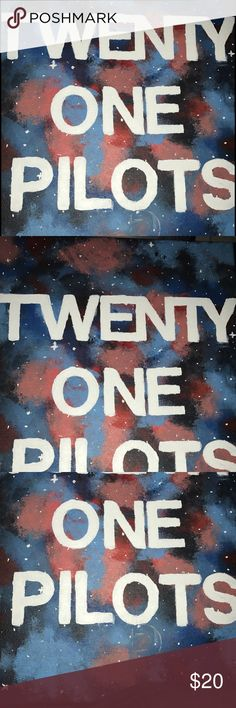 """Twenty One Pilots painting. This took me a very long time to do. There is an outline of a """"p"""" below """"pilots"""" and I'm very sorry for that. I'll have the best offer if you don't want to pay the price I have set. I'm trying to start painting more often, and I will take requests, but in order for me to do that I will need to sell a few paintings so I have money for more canvas & paint. Other"""