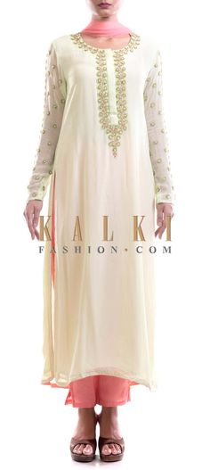 Buy Online from the link below. We ship worldwide (Free Shipping over US$100) Price- $149 Click Anywhere to Tag http://www.kalkifashion.com/pastel-green-and-pink-suit-with-floral-embroidery.html