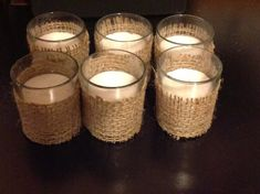 Set of 12 Votives Wrapped in Burlap. by SimplypSimplistic on Etsy