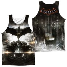 BATMAN ARKHAM KNIGHT/POSTER (FRONT/BACK PRINT)-ADULT 100% POLY TANK TOP-WHITE