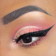 Peach Makeup, Pink Eye Makeup, Glitter Eye Makeup, Eye Makeup Art, Eyeshadow Makeup, Makeup Inspo, Eyeshadow Palette, Makeup Ideas, Makeup Inspiration