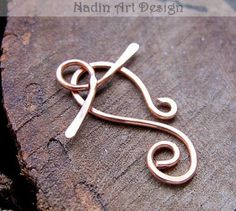 Swirl Toggle Clasp, Artisan Copper T-Bar Clasp for Braceles, Necklaces