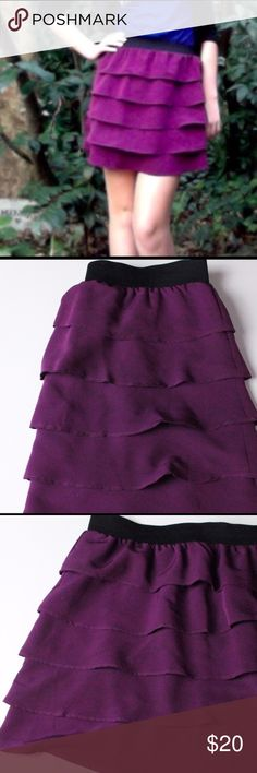 Purple ruffle apt 9 skirt Cute ruffle skirt with spandex waist. Great condition. Can be worn to work or on the weekends! Versatile piece. Apt. 9 Skirts