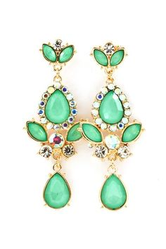 Swarovski #Pnmbrandjewelry #Crystal #Fashion #Pretty #Girl #Kelly Green Chandelier Earrings