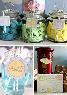 flavoured cloud lollies - up up and away favor tag and lolly jar label 1st Birthday Themes, Boy Birthday, Birthday Parties, Baby Shower Parties, Baby Boy Shower, Baby Showers, Lolly Jars, Baby Tea, Hot Air Balloon