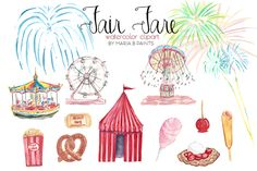 Watercolor Clip Art - Carnival by Maria B. Paints on @creativemarket