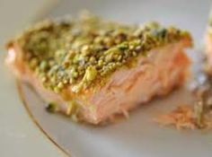 Roasted Pistachio Salmon with Maple Whiskey Sauce. (Whiskey optional) ~~ This is one of my husband and son's favorite dishes. It's so easy to make and tastes like a high end restaurant item. Wild Salmon Recipe, Salmon Recipes, Fish Recipes, Seafood Recipes, Recipies, Wasabi Recipes, Chicken Recipes, Fish Dishes, Seafood Dishes