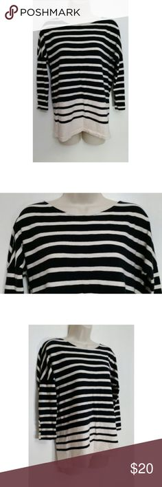 """J. Crew Striped Boat Neck Tee This Very Stylish J. Crew Long Striped Boater Tee is a Size XS. Shirt is Pink and Black in a Striped pattern.  3/4 Sleeve Tunic Length Top with a Scoop Neck. Made with 100% Cotton. Some lint build up on the top. Please see photos for details.  Look Cute and Comfortable with this Great Looking and Easy to Wear J. Crew Top! Pair it with your Favorite Dark Wash Jeans or Khakis for a Personalized Look.   Pit to Pit - 21"""" Sleeve - 18""""  Length - 23"""" J. Crew Tops"""