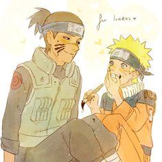 Naruto and Iruka Naruto Uzumaki Shippuden, Naruto And Sasuke, Naruto Boys, Kakashi Sensei, Naruto Anime, Naruto Comic, Naruto Cute, Shikamaru, Arte Indie