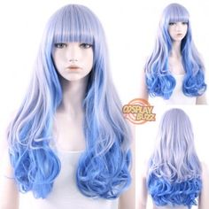 Long Wavy Blue Mixed Blonde Lolita Wig Style Code:WIG069 Color:Blue Mixed Blonde Size: One size Length: 23.6 inches or 60 cm Material: Japanese synthetic fiber Heat Resistant: 150C Heat Resistant