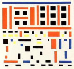 Bart van der Leck, Compositie 1917 no. 4 (uitgaan van de fabriek), 1917, olieverf op doek, 94 x 100 cm, Kröller Müller Museum, Otterlo. zie voor een biografie:  http://www.artsalonholland.nl/grote-meesters-kunstgeschiedenis/bart-van-der-leck