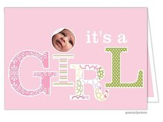 It's a Girl Folded Birth Announcement Photo Cards  from Little Angel Announcements