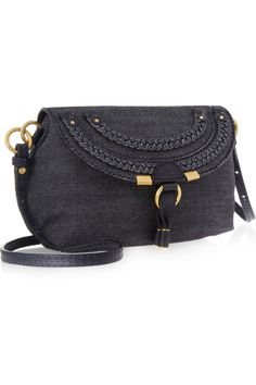 Chloé | Marcie denim and leather shoulder bag |
