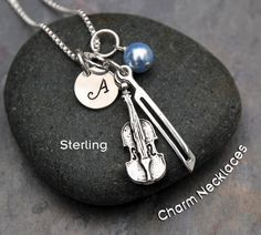 Violin Necklace Music Jewelry - Sterling Silver Violin Bow Charm Pendant -Personalized Custom Letter Name Initial Stamp - Gift for Violinist by CharmNecklaces