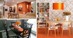 15 Dininguri cu accente de portocaliu si rosu oranj Dining Rooms, Divider, Table, Furniture, Home Decor, Decoration Home, Dining Room Suites, Room Decor, Tables