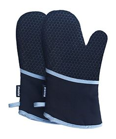 """Cotton twill and silicon honey comb pattern design,flexible and nonslip pot holders,100% FDA approved & BPA free,safe in touching food,silicone treatment on both sides for right or left handed use. Deluxe cotton quilted & terrycloth/terry cloth lining,professional oven mittens,providing a comfortable and soft grip for your home or restaurants baking. 13"""" long heat resistant oven mitts,protecting"""