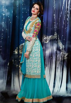 Turquoise Blue Faux Chiffon Lehenga Choli with Dupatta: LSX2  --Still really like this for the nikah. The embroidery and colors match the theme I am currently going for--yellow, shades of aqua or teal, possibly coral and white/off white.   $126--can be custom tailored