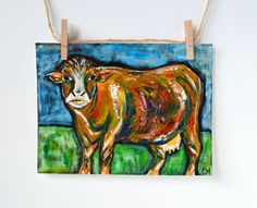 One Brown Cow Abstract Painting Original Acrylic by SimplyClaudia