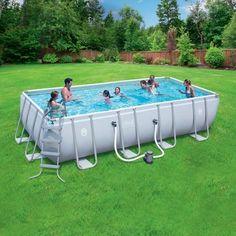 "Coleman 18' x 9' x 48"" Power Steel Rectangular Frame Above-Ground Swimming Pool"