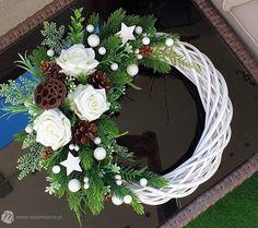 All Things Christmas, Christmas Time, Christmas Wreaths, Christmas Decorations, Holiday Decor, Willow Wreath, Grapevine Wreath, Craft Show Ideas, Red And White