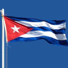 Cuban Flag containing a field with 3 blue stripes and 2 white stripes, and a red equilateral at the hoist with a white 5-pointed star, designed in 1848 for the liberation movement.