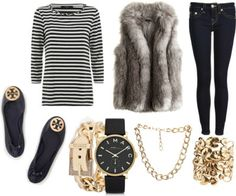 Stripes, Fur and Gold--how to wear a fur vest with a nautical look
