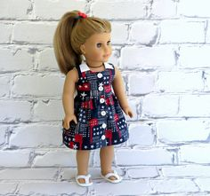 Patriotic Doll Dress, American Girl Doll Clothes, Red White Blue, 4th of July Dress