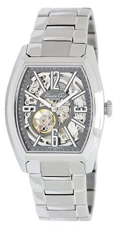 Men's Wrist Watches - Kenneth Cole New York Mens KC9033 Barrel Automatic Gunmetal Dial Watch ** Visit the image link more details.