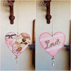 Pêndulo Heart #pêndulo  #pendulum #love #amor #gaioladepassarinho #birdcage #vintage #renda #lace #cristal #mobile