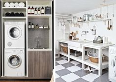 Great small space laundry.  Utilitarian & Chic #3 – Laundry via Emily Henderson