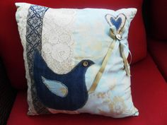 handcrafted pillow cushion applique bird with by fabricforcrafts, £20.00