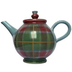 Knockando Woolmill Tartan teapot handpainted in green and red plaid pattern, with Scottish thistle knob, handmade by Tain Pottery, c. 2010s, stoneware, Scotland, UK