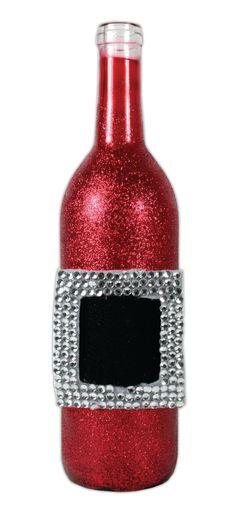 Red Santa Glass Bottle