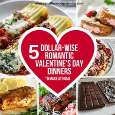 5 Dollar-Wise Romantic Valentine's Day Dinner Ideas : The Grocery Game Challenge 2018 Feb - Canadian Budget Binder Dinner For 2, Dinner On A Budget, Date Dinner, Dinner Date Recipes, Budget Meals, Budget Binder, Budget Recipes, Romantic Meals, Dinners To Make