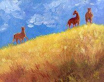 Original Painting. Original Equine Art, Medium Size, Wall Decor, Original Wall Art, Original Horse Painting, Landscape Painting, Equas