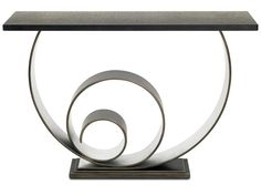 VERTIGO CONSOLE TABLE Made from mild steel with a pewter and silver leaf finish and honed granite top. Dimensions: H870mm W1200mm D350mm